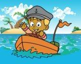 Desenho Barco e capitão pintado por ceciliaz