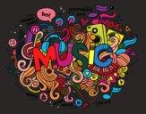 Desenho Colagem musical pintado por isalu