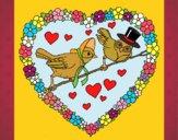 Desenho Coração com pássaros pintado por Craudia