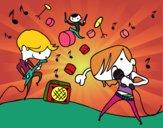 Desenho Grupo musical pintado por isalu