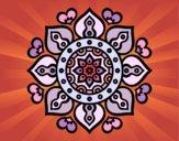 Desenho Mandala Corações árabes pintado por leinha
