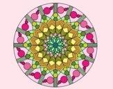Desenho Mandala flor com círculos pintado por leinha