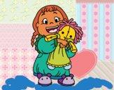 Desenho Menina com boneca pintado por m28castro