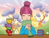 Desenho Menina com lenço e xícara de chá pintado por JuliaReis
