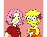 Desenho Sakura e Lisa pintado por rinata
