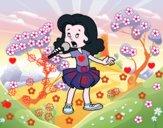 Uma menina cantando
