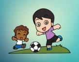 Desenho Futebol durante o recreio pintado por Craudia