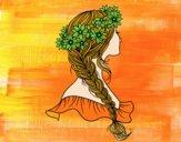 Desenho Penteado com trança pintado por ocnarbande