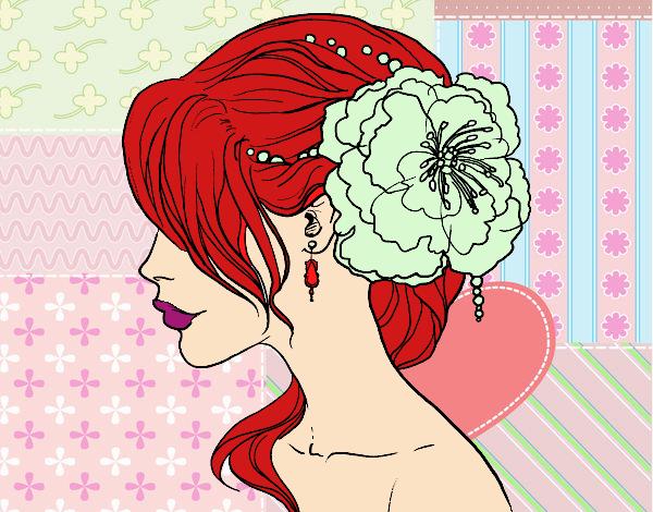 Desenho Penteado de casamento com flor pintado por Bianca99