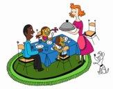 Desenho Jantar familiar pintado por Jujuli