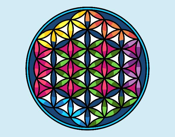 Desenho Mandala flor de vida pintado por ceciliaz