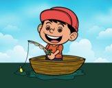 Desenho Menino a pescar pintado por Craudia