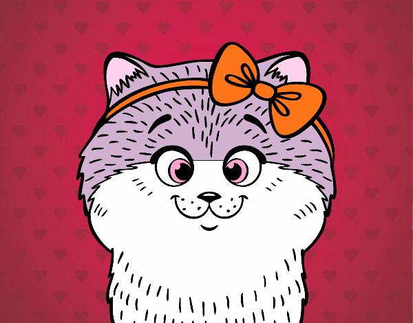 Desenho Uma gatinha com laço pintado por Bianca99