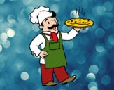 Desenho Chef italiano pintado por ImShampoo