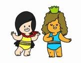Desenho Meninas que jogam pintado por Jujuli