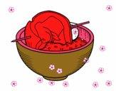 Espetada de carne de com arroz