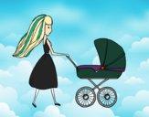 Desenho  Mãe com carrinho de criança pintado por qscguk