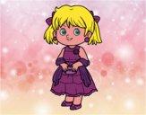 Menina com vestido elegante