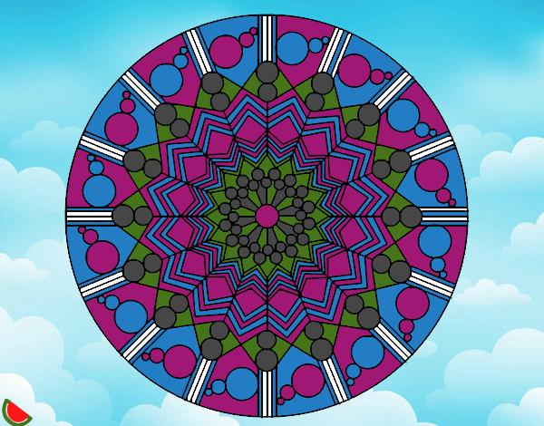 Desenho Mandala flor com círculos pintado por luzinda
