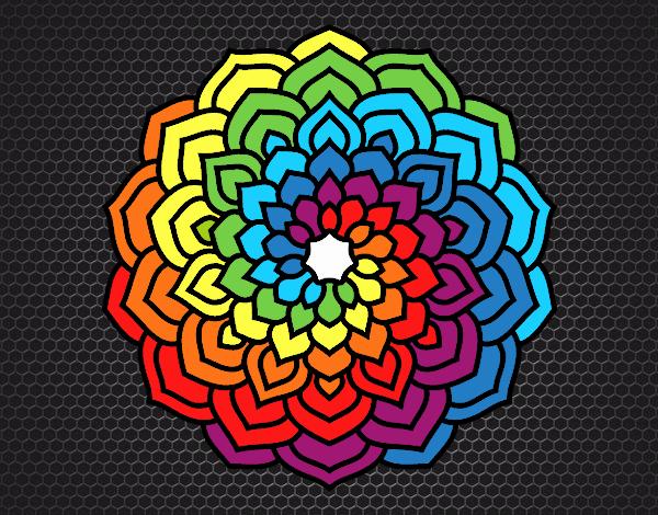 Desenho Mandala pétalas de flores pintado por Craudia