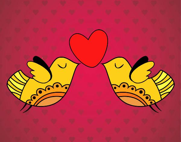 Desenho Pássaros com coração pintado por Anna_blogs