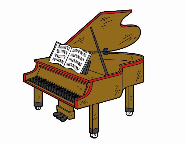 Desenho Um piano de cauda aberto pintado por luzinda