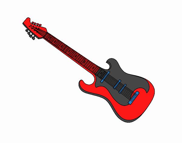 Desenho Uma guitarra elétrica pintado por luzinda