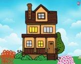 Desenho Casa de dois andares com sótão pintado por ANALUMA