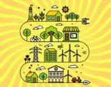 Desenho Cidade ecológica pintado por LadyMcm