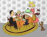 Desenho Jantar familiar pintado por ANALUMA