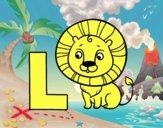 Desenho L de Leão pintado por miguelms