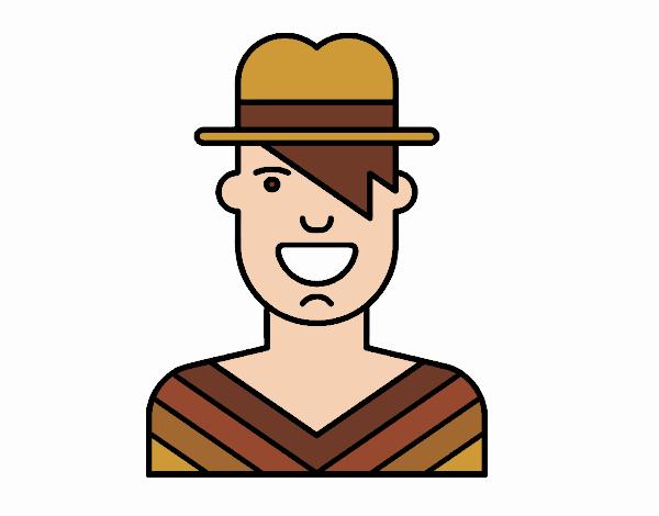 Desenho Menino com chapéu pintado por Craudia