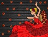Desenho Mulher flamenco pintado por ANALUMA