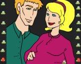Desenho Pai e mãe pintado por ANALUMA