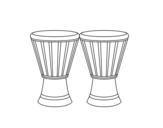 Desenho de 2 Djembes para colorear
