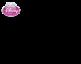 Desenho de A Bela Adormecida - Aurora com uma rosa para colorear