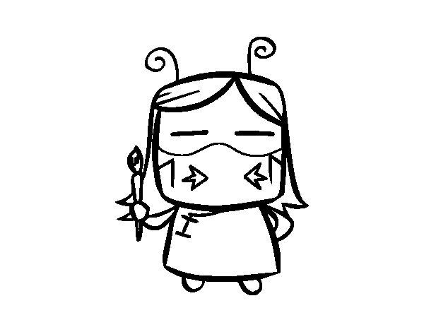 Desenho de Abelha artista para Colorir