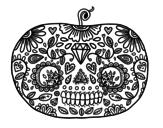 Desenho de Abóbora de dia dos mortos para colorear