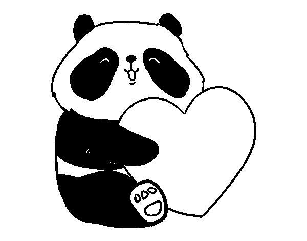 Desenho De Amor Panda Para Colorir