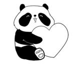 Desenho de Amor Panda para colorear