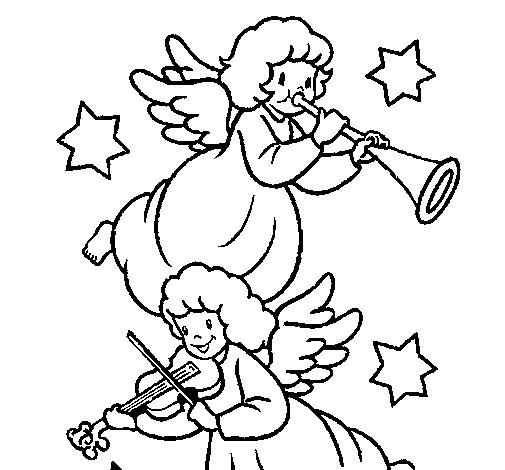 Desenho de Anjos musicais para Colorir