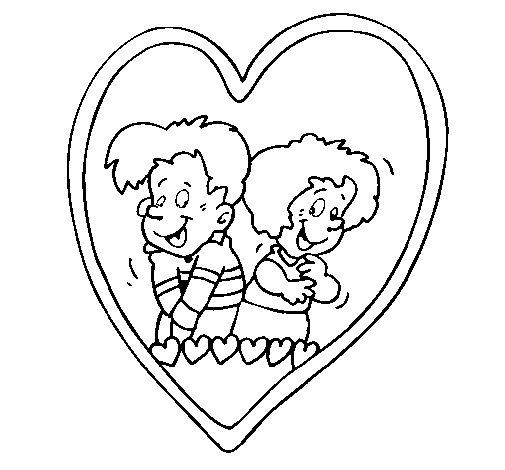 Desenho de Apaixonados dentro de um coração  para Colorir