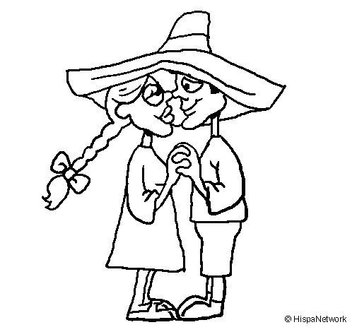 Desenho de Apaixonados sob um chapéu para Colorir