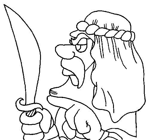 Desenho de Árabe com sabre para Colorir