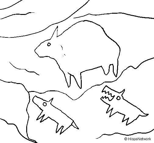 Desenho de Arte rupestre para Colorir