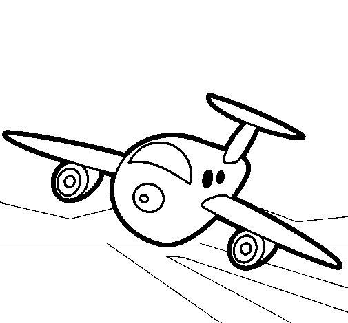 Desenho de Avião a aterrar para Colorir