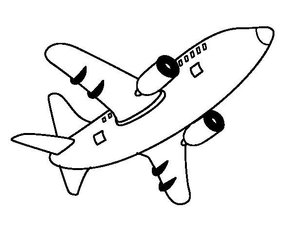 Desenho De Avião A Voar Para Colorir