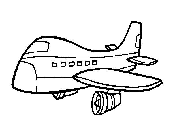 Desenho De Avião Comercial Para Colorir
