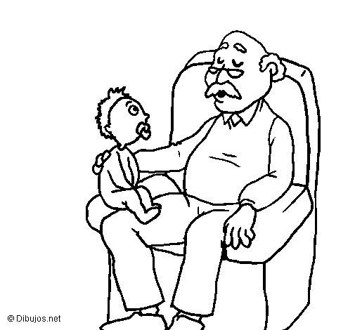 Desenho de  Avô e neto para Colorir