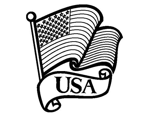 Desenho de Bandeira dos Estados Unidos para Colorir